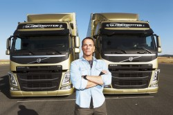 Jean-Claude Van Damme does the split between two Volvo trucks