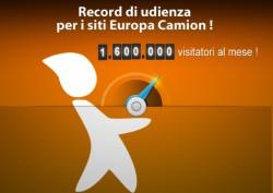 1,6 milione di visitatori al mese per i siti di Europa Camion !