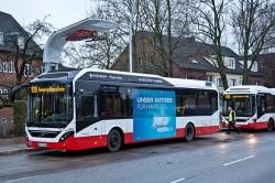 O primeiro ônibus hídrido elétrico Volvo em teste em Alemanha