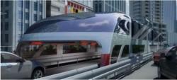 Um autocarro do futuro « anti-tráfego» apresentado na China