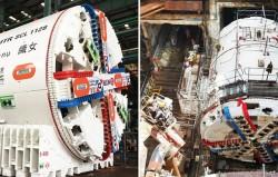 Uma máquina de perfurar túneis a densidade variável em Hong Kong