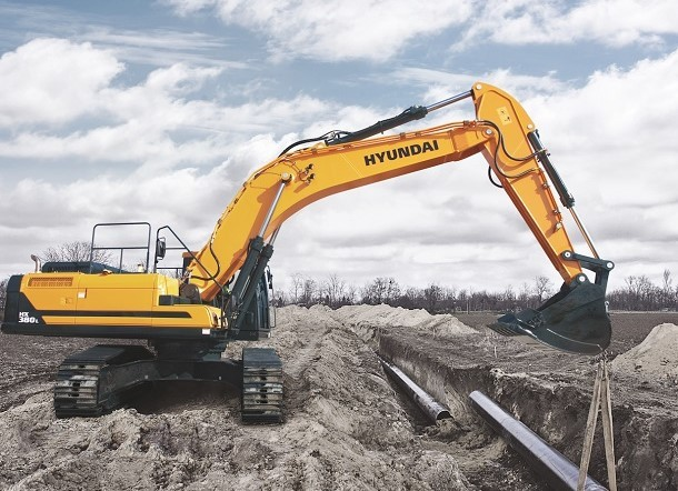 The Hyundai HX 380 L excavator is ideal for large levelling work