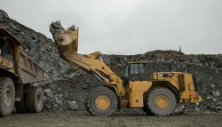 The new Caterpillar CAT 988K XE wheel loader with electric drive