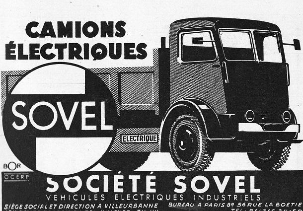 Cette publicité pour les camions électriquesSovel date de 1946.