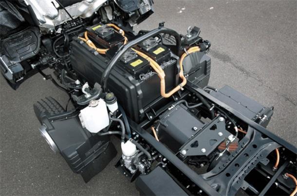 Vue du moteur et des batteries du camionFuso Canter E-Cell 100% électrique.