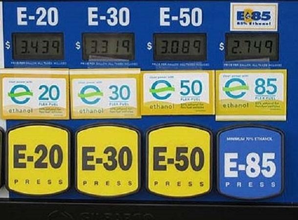 Les pompes à l'éthanol d'unestation-service aux Etats-Unis.